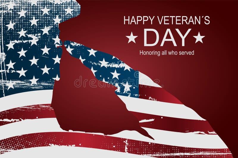 """Manifesto di giorno del ` s del veterano o †felice delle insegne """"l'11 novembre Bandiera di U.S.A. come fondo royalty illustrazione gratis"""