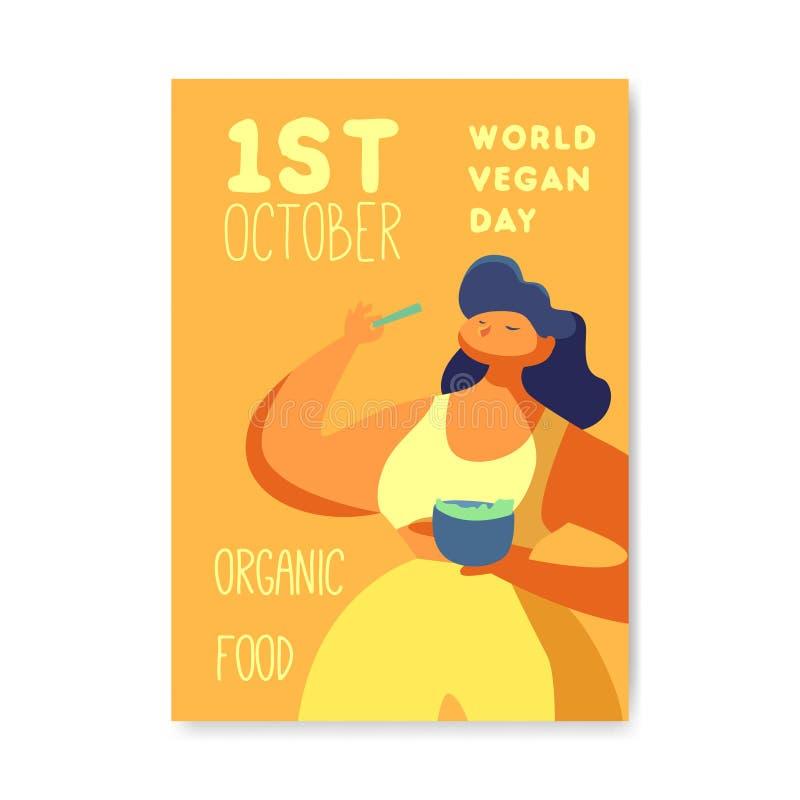 Manifesto di giorno del vegano, insegna, aletta di filatoio Progettazione vegetariana di festa del mondo con la donna che mangia  royalty illustrazione gratis