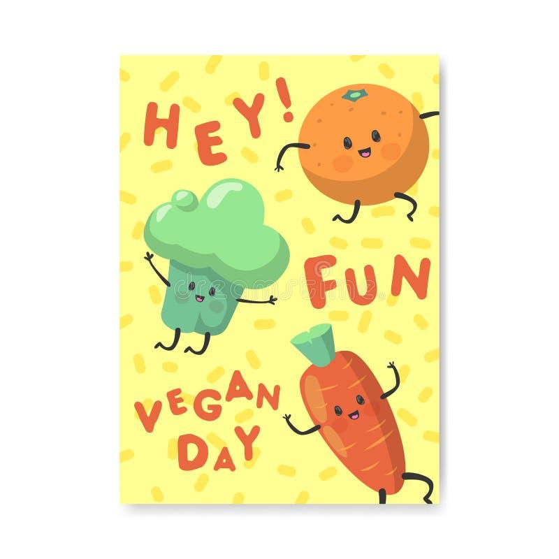 Manifesto di giorno del vegano, insegna, aletta di filatoio Progettazione vegetariana di festa del mondo con le verdure e l'alime royalty illustrazione gratis
