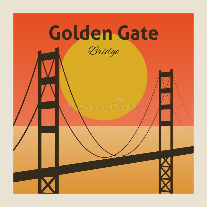 Manifesto di golden gate bridge illustrazione vettoriale