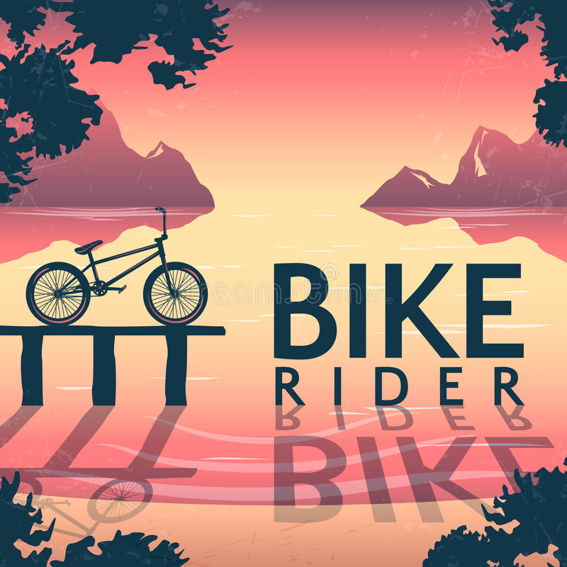 Manifesto di guida della bici di BMX illustrazione vettoriale