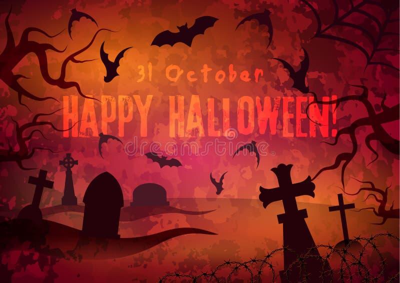 Manifesto di Halloween con il cimitero illustrazione di stock