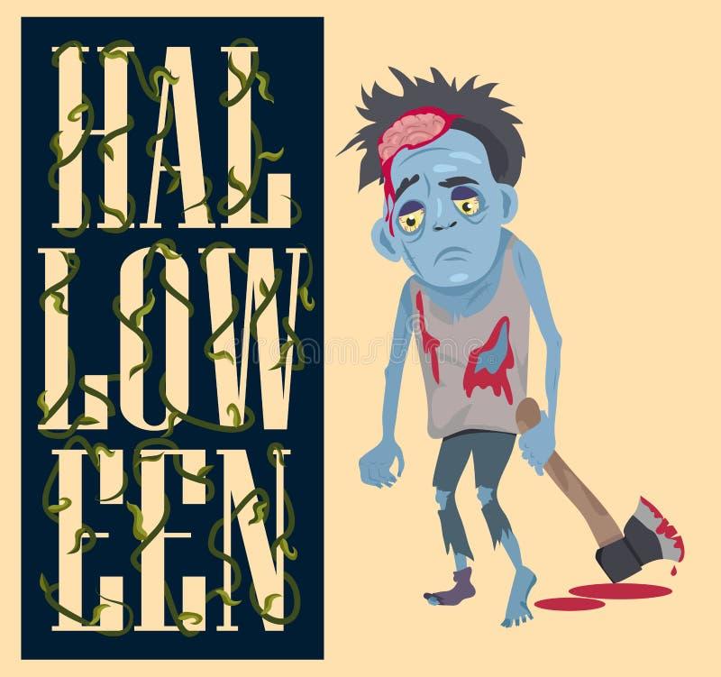 Manifesto di Halloween con il mostro spaventoso con l'ascia sanguinosa illustrazione di stock