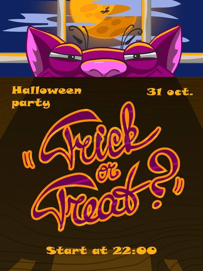 Manifesto di Halloween con un gatto ingannevole illustrazione di stock