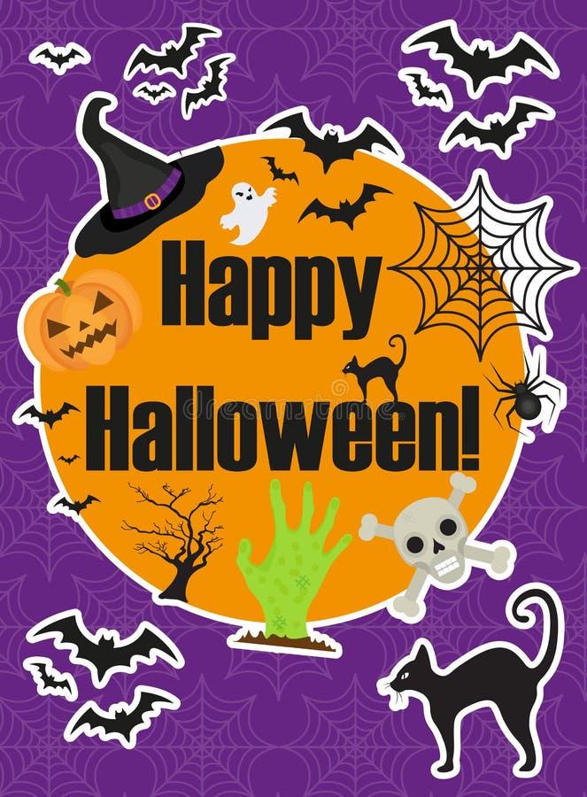 Manifesto di Halloween I modelli felici di Halloween per il vostro invito progettano, cartolina d'auguri, aletta di filatoio Illu illustrazione di stock