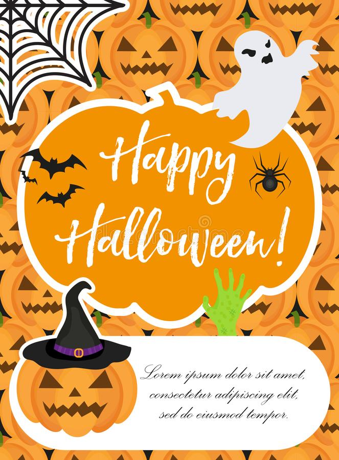 Manifesto di Halloween I modelli felici di Halloween per il vostro invito progettano, cartolina d'auguri, aletta di filatoio Illu illustrazione vettoriale