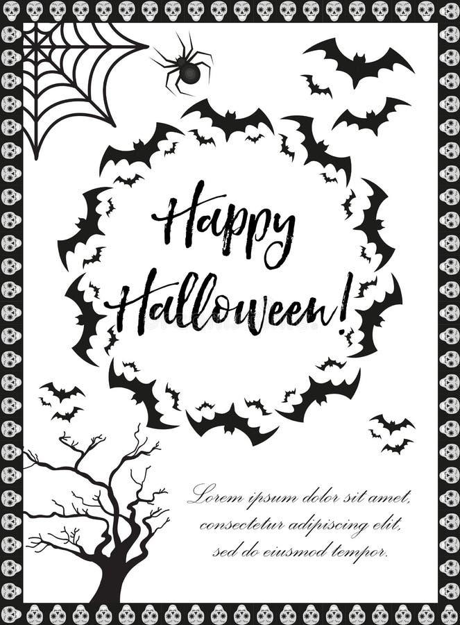 Manifesto di Halloween I modelli felici di Halloween per il vostro invito progettano, cartolina d'auguri, aletta di filatoio Illu royalty illustrazione gratis