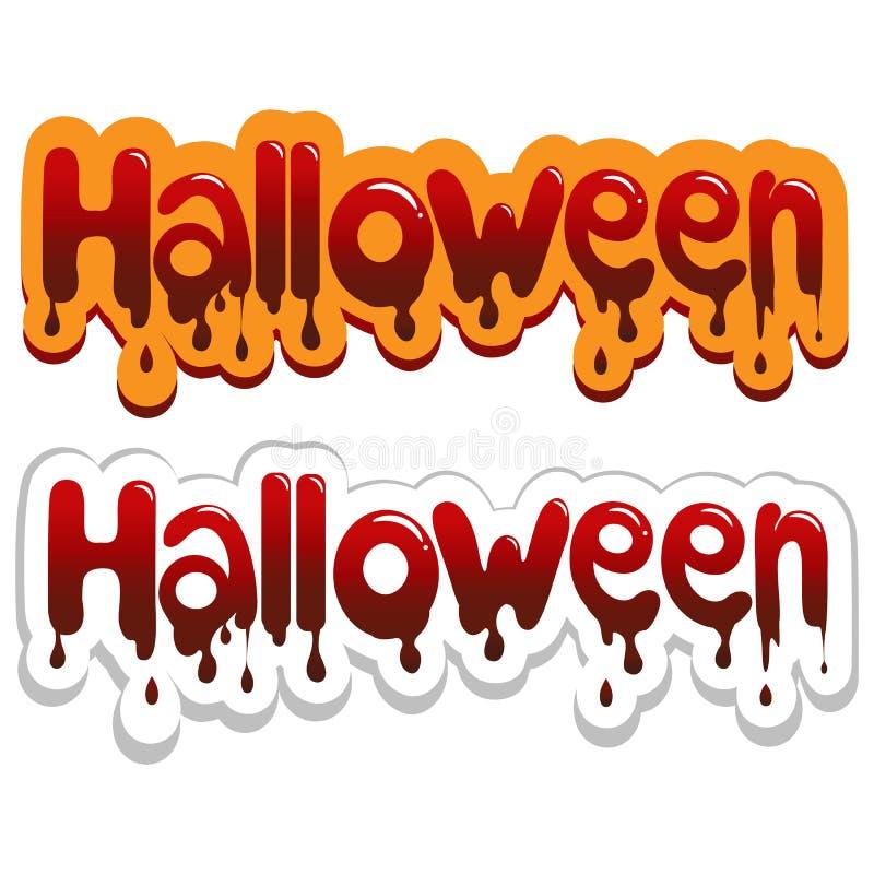 Manifesto di Halloween Illustrazione sanguinosa dell'iscrizione illustrazione di stock