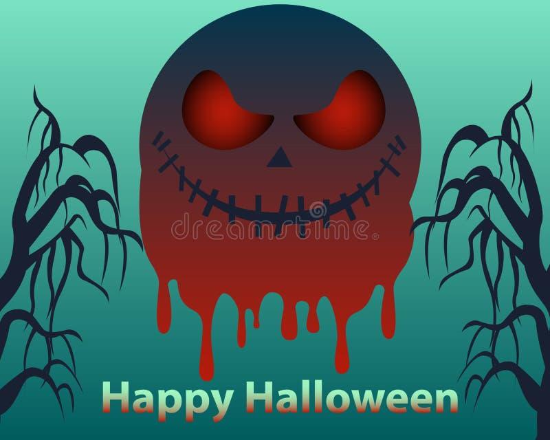 Manifesto di Halloween Luna sanguinante illustrazione vettoriale