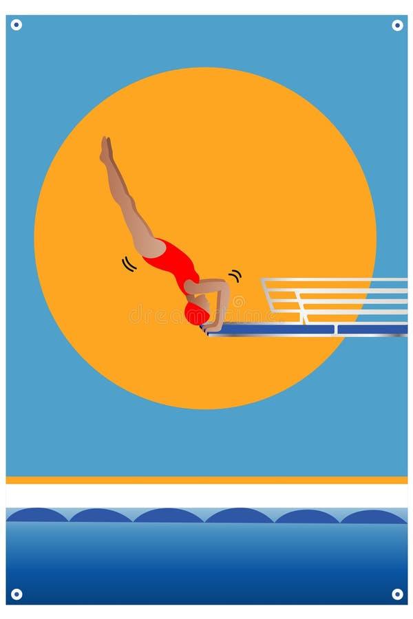 Manifesto di immersione subacquea nello stile asiatico Attrezzatura di sport acquatico Gioco di attività dell'atleta in concorren fotografia stock