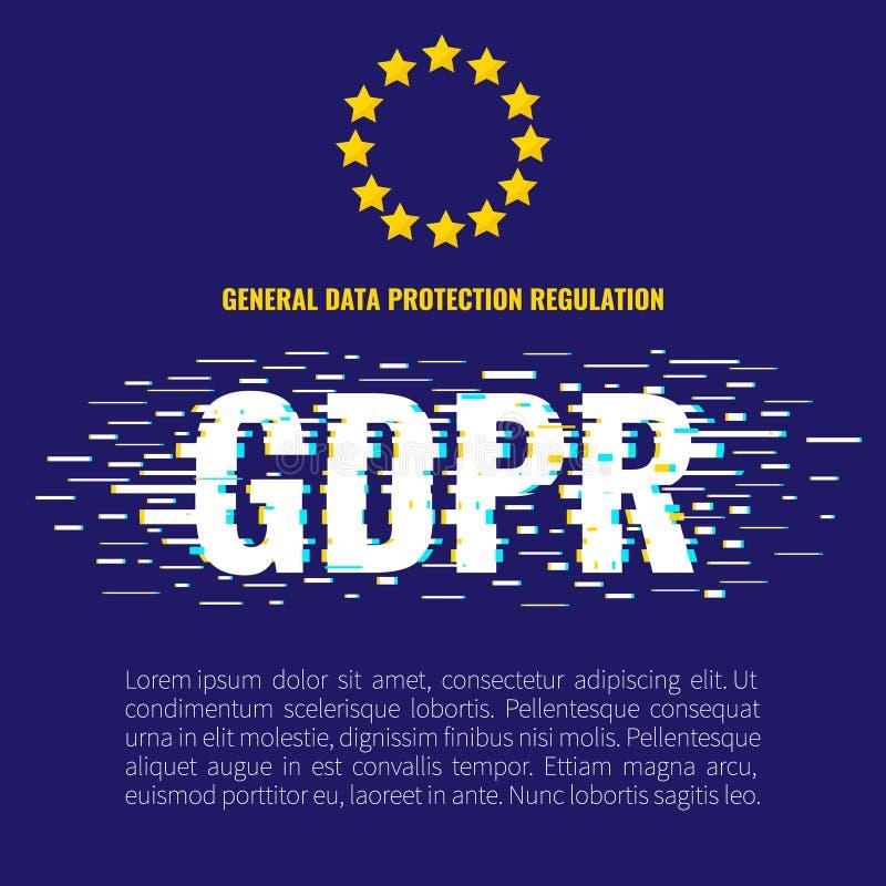 Manifesto di impulso errato di GDPR royalty illustrazione gratis