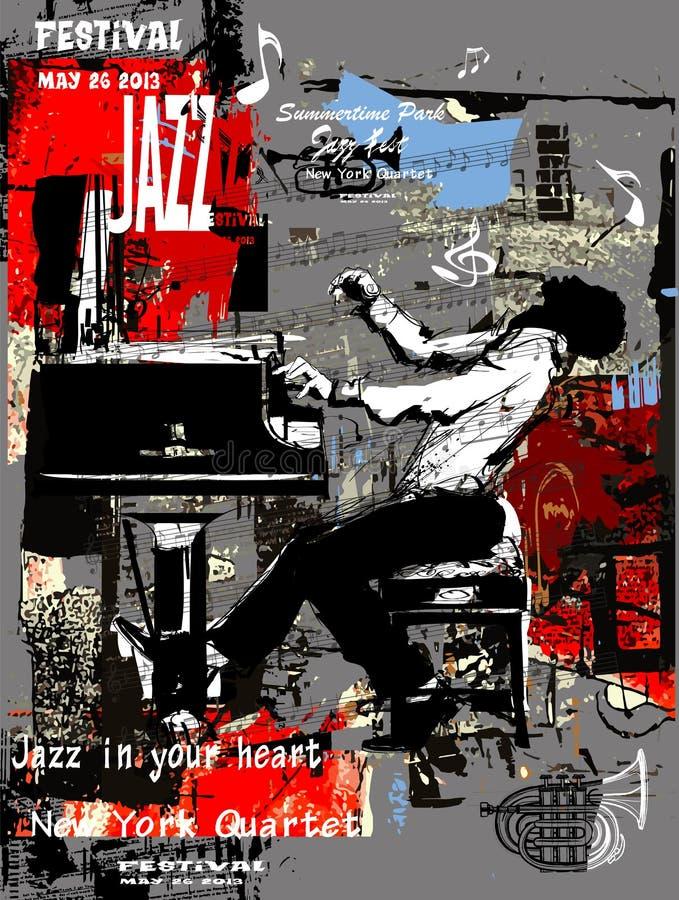 Manifesto di jazz con il pianista sopra il fondo di lerciume royalty illustrazione gratis