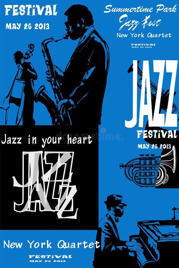 Manifesto di jazz con il sassofono, il contrabbasso ed il piano illustrazione vettoriale