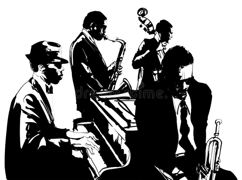 Manifesto di jazz con il sassofono, il contrabbasso, il piano e la tromba royalty illustrazione gratis