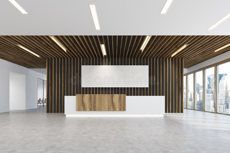 Ufficio Bianco E Legno : Manifesto di legno bianco e leggero dell ufficio della luce di