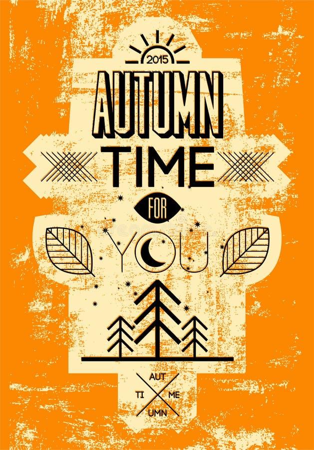 Manifesto di lerciume di tempo di autunno retro Progettazione tipografica di vettore illustrazione di stock