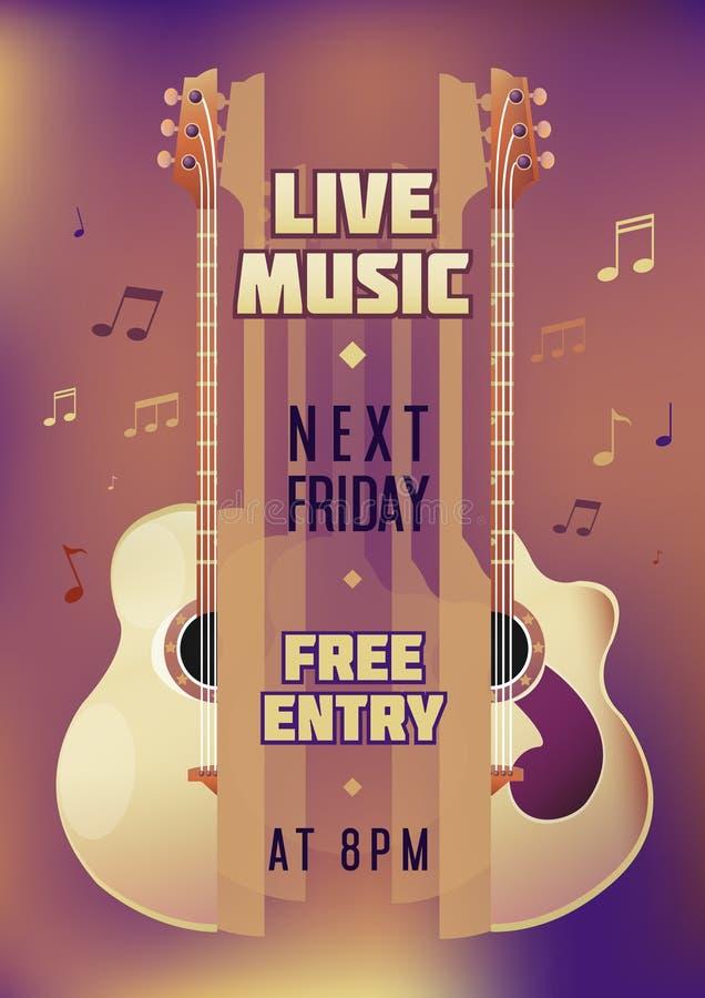 Manifesto di manifestazione di concerto del musicista con la chitarra acustica royalty illustrazione gratis