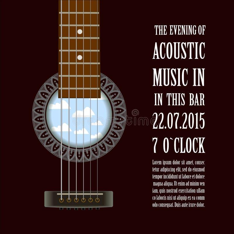 Manifesto di manifestazione di concerto di musica con la chitarra acustica Vettore illustrazione vettoriale