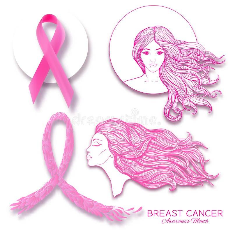 Manifesto di mese di consapevolezza del cancro al seno con il ritratto rosa delle donne e del nastro royalty illustrazione gratis