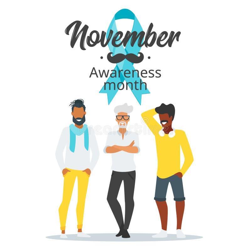 Manifesto di mese di consapevolezza del carcinoma della prostata illustrazione di stock