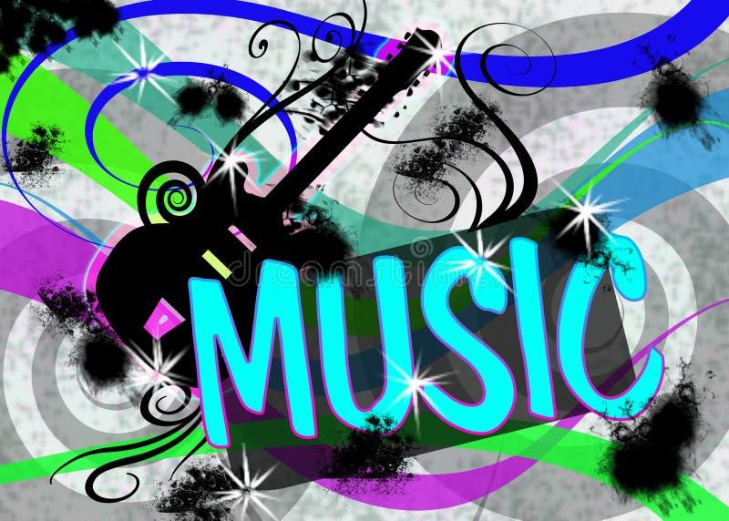 Manifesto di musica di Grunge della chitarra illustrazione di stock