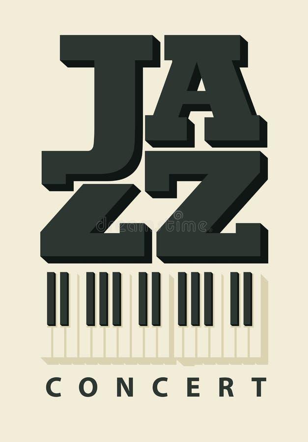 Manifesto di musica per un concerto di jazz con le chiavi del piano illustrazione vettoriale