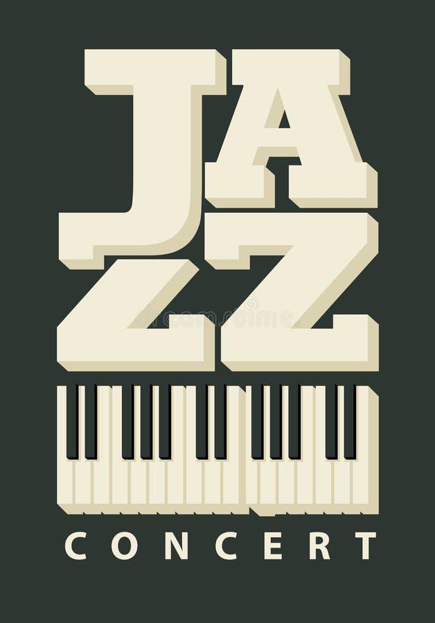 Manifesto di musica per un concerto di jazz con le chiavi del piano royalty illustrazione gratis