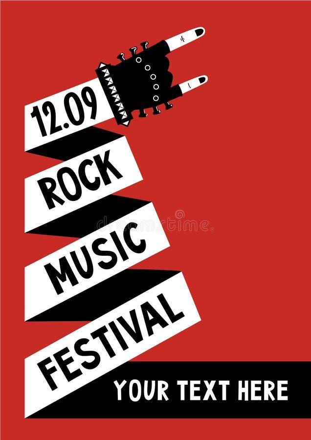 Manifesto di musica rock con la mano Modello del tabellone per le affissioni illustrazione di stock
