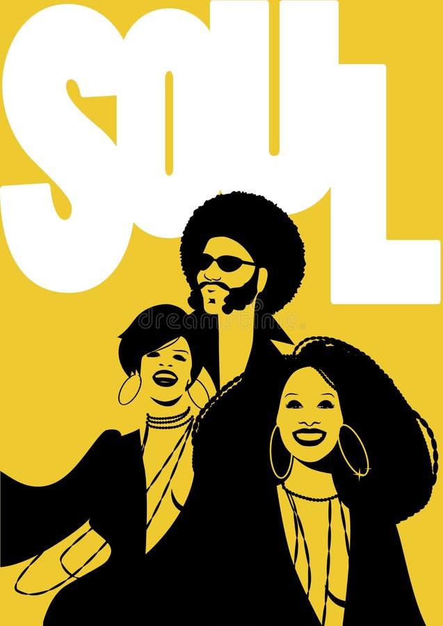 Manifesto di musica soul Gruppo di uomo e di due ragazze royalty illustrazione gratis