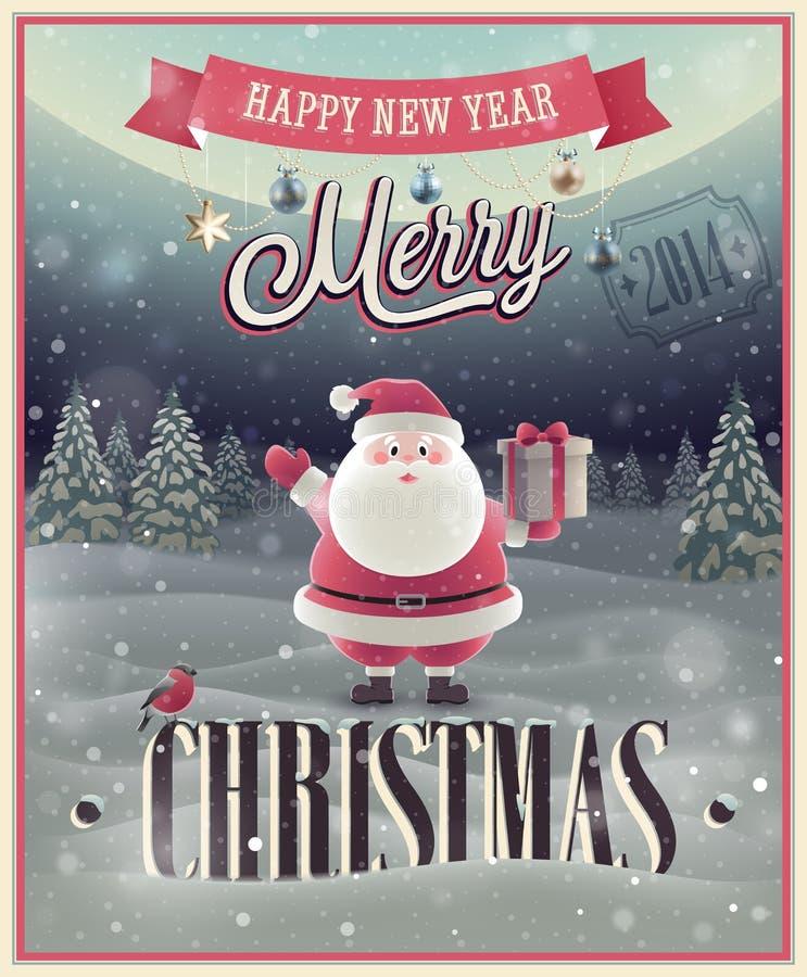 Manifesto di Natale con Santa. illustrazione vettoriale