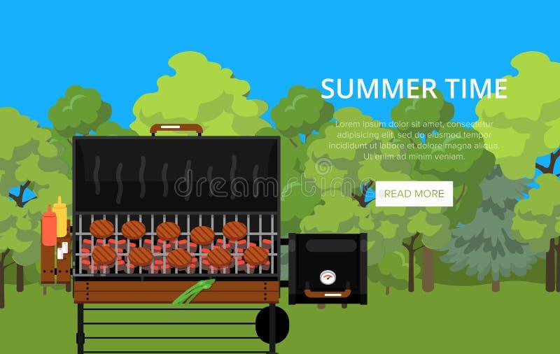 Manifesto di ora legale con le carni sulla griglia del barbecue royalty illustrazione gratis