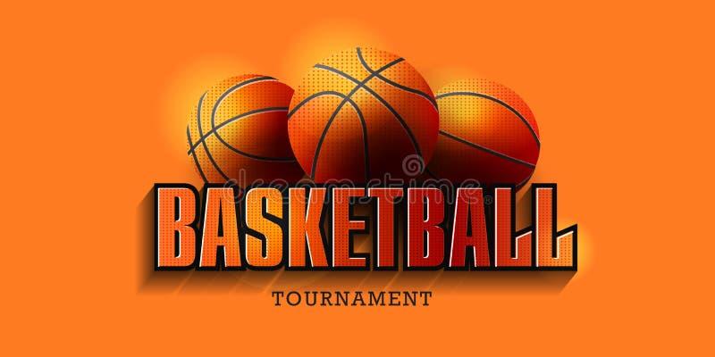 Manifesto di pallacanestro con le palle di pallacanestro e la grande tipografia Pubblicit? di spareggio di pallacanestro Annuncio royalty illustrazione gratis