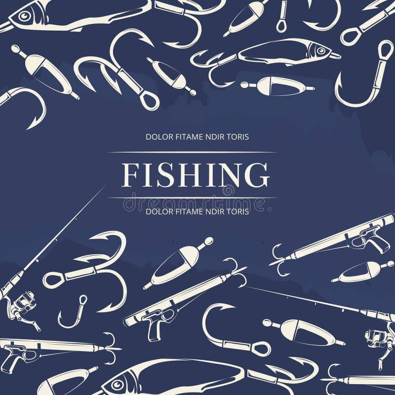 Manifesto di pesca con il gancio, canna da pesca illustrazione di stock