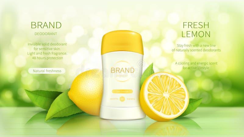 Manifesto di promo per il deodorante asciutto del bastone illustrazione di stock