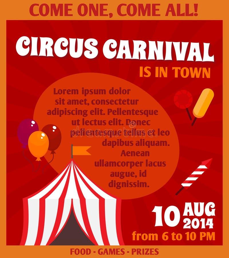 Manifesto di pubblicità del circo illustrazione di stock