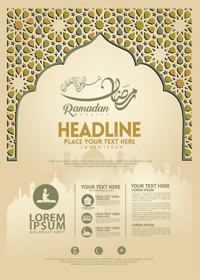 Manifesto di Ramadan Kareem, modello dell'opuscolo ed altri utenti, fondo islamico dell'insegna illustrazione vettoriale