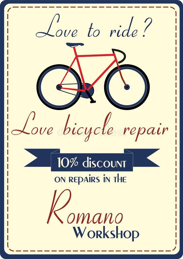 Manifesto di riparazione della bicicletta fotografia stock libera da diritti