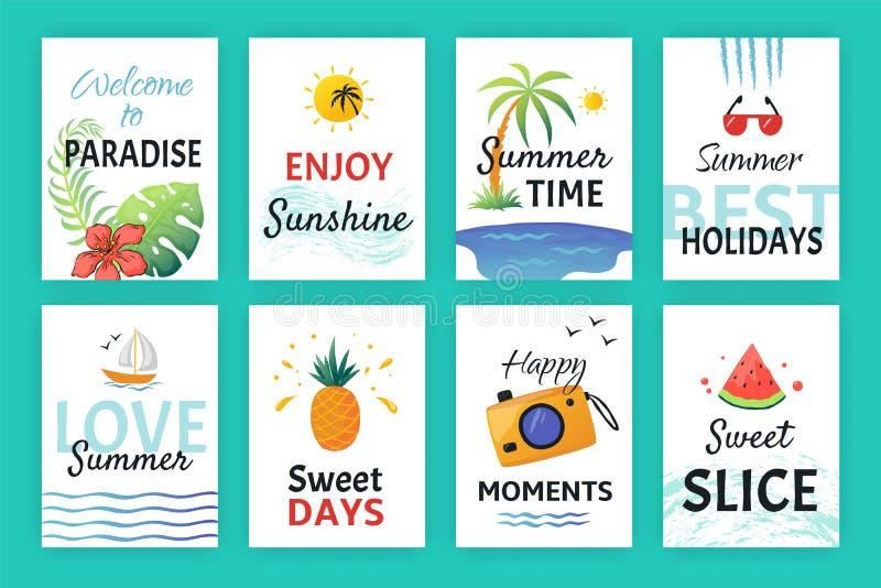 Manifesto di scarabocchio di estate Insegne del partito della spiaggia con i modelli e l'iscrizione semplici, elementi dell'autoa illustrazione di stock