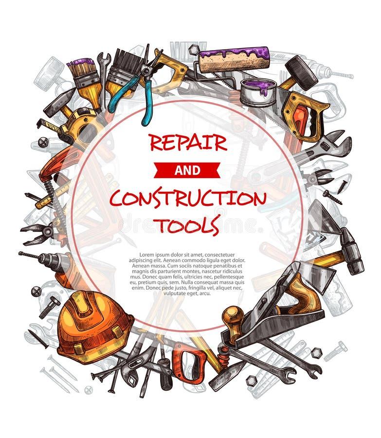 Manifesto di schizzo di vettore degli strumenti domestici del lavoro di riparazione illustrazione vettoriale