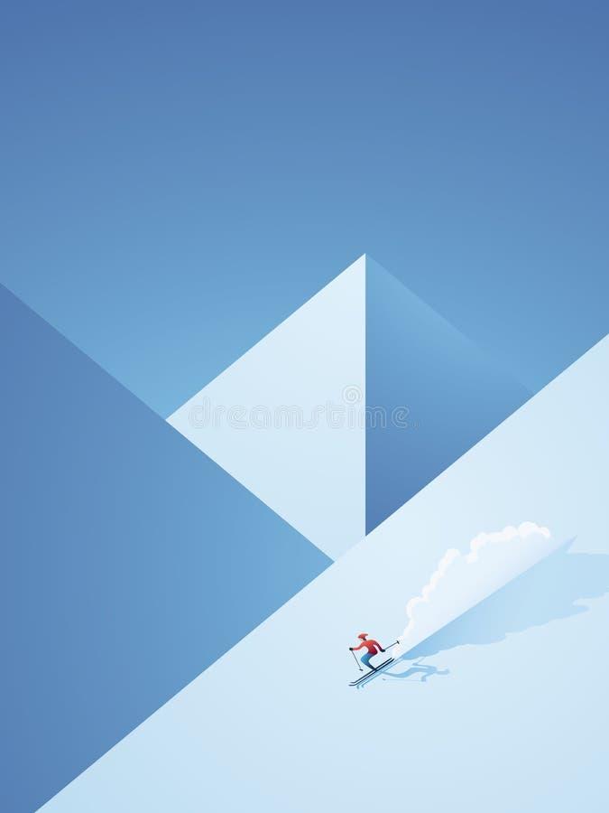 Manifesto di sci di vettore di inverno con lo sciatore che va in discesa sulla montagna Pubblicità o promozione di vacanza di Fre royalty illustrazione gratis