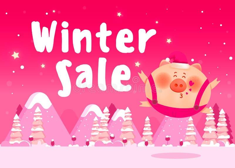 Manifesto di sconto Insegna di vendita di inverno royalty illustrazione gratis