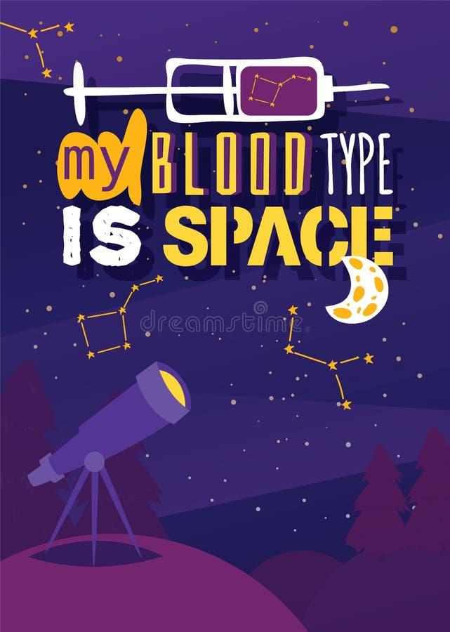 Manifesto di scoperta dell'universo, esplorazione e tema di viaggio Illustrazione di vettore di osservazione del telescopio Il mi royalty illustrazione gratis
