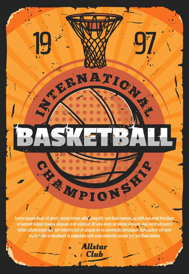 Manifesto di sport di pallacanestro con la palla di cuoio illustrazione di stock