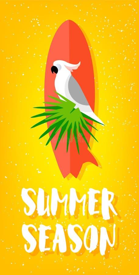 Download Manifesto Di Stagione Estiva Con Il Pappagallo, Il Surf, Le Foglie Di Palma Ed Il Testo Su Fondo Giallo Progettazione Piana Sched Illustrazione Vettoriale - Illustrazione di uccello, disegno: 117975511