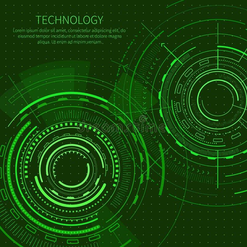 Manifesto di tecnologia con l'illustrazione di vettore del testo illustrazione vettoriale