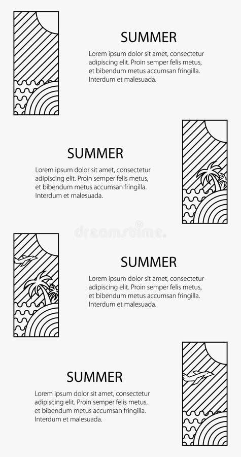 Manifesto di tema di estate, insegna di vacanza illustrazione di stock