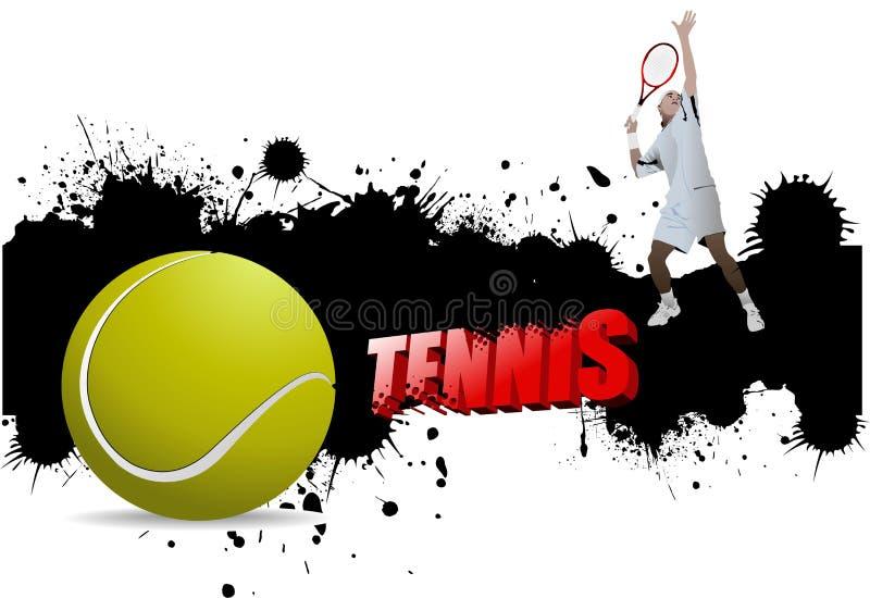 Manifesto di tennis di lerciume con pallina da tennis e illustrazione di stock