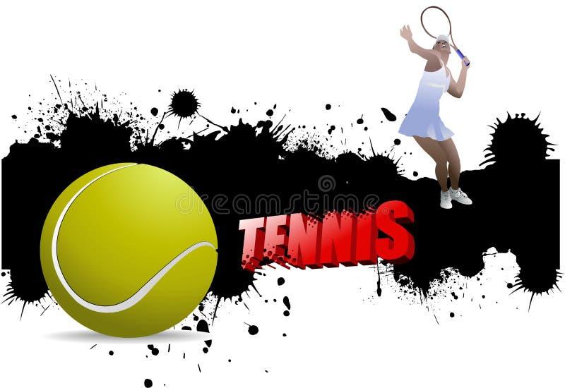Manifesto di tennis di lerciume con pallina da tennis ed il giocatore illustrazione vettoriale