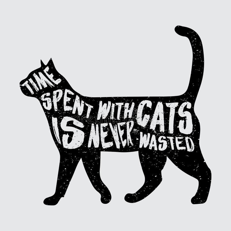 Manifesto di tipografia con il gatto nero fotografie stock