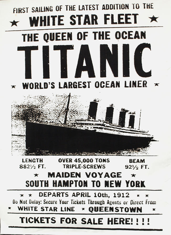 Manifesto di Titantic immagine stock